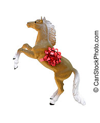 Toy Horse w/Bow Isolated on White
