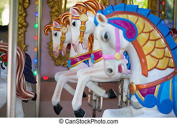 toy horses - lovely horses in roundabout,amusement park