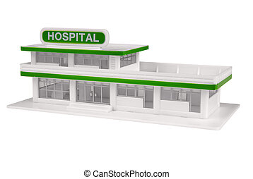 toy Hospital in the color of white isolated over a white...