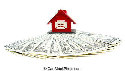 Toy house and money. - The toy house and money. On a white...
