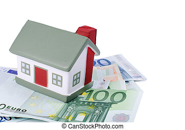 toy house for euro banknotes isolated