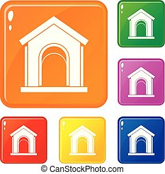Toy house icons set vector color