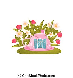 Toy house in the form of an inverted mug on the background of strawberries. Vector illustration on white background.