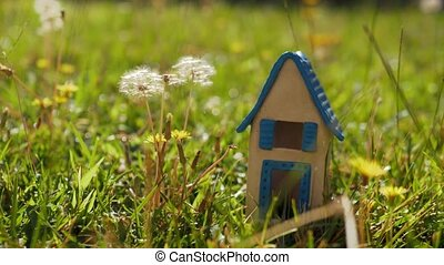 Toy house on green lawn as symbol of eco-home - Close-up...