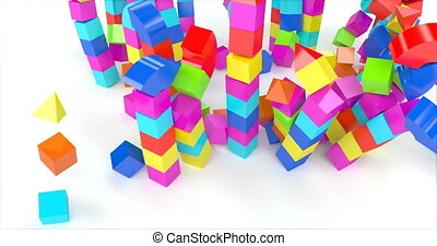 Toy house out blocks. Preschool, childhood. Home destroyed ...