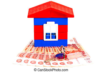 Toy house out of blocks is on the banknotes Russia