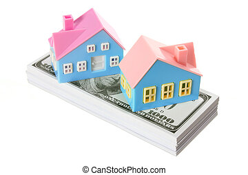 Toy Houses with Dollar Notes