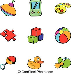 Toy icons set, cartoon style