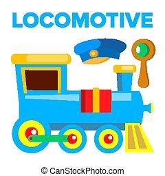 toy., isolado, ilustração, caricatura, railway., trem, vector., locomotiva, crianças, estrada
