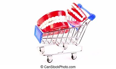 Toy jaws is in the shopping cart, composition rotates