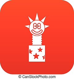 Toy jumping out of box icon digital red