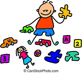 toy kid - little boy sat playing with toys - toddler art...