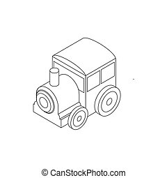 Toy locomotive icon, isometric 3d style