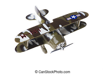 toy military airplane on white - object on white - toy...
