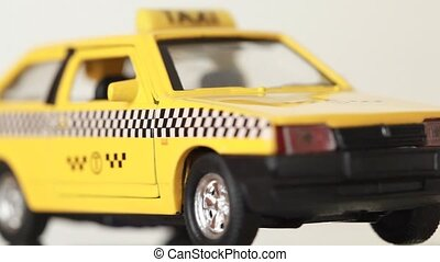 Toy model russian car are shown front-around - Yellow Toy...