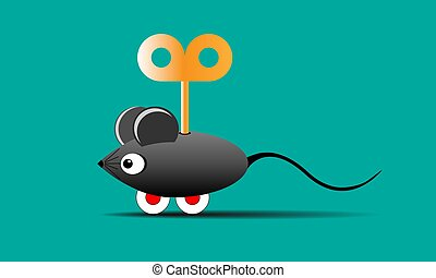 toy mouse on wheels with a key
