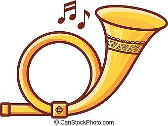 toy., musical, instrument., bebê, poste, horn.