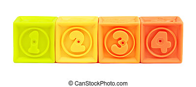 Toy number colorful blocks isolated on white background