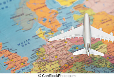Toy of a plane flying over the Europe map.