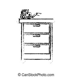 Toy on chest of drawers vector illustration design