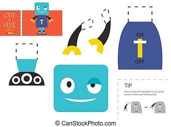 toy., pédagogique, mignon, vecteur, coupure, activité, papier, robot, colle, caractère