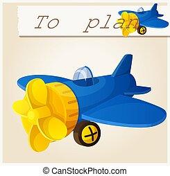 Toy plane. Cartoon vector illustration