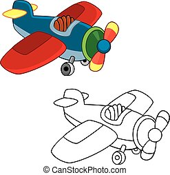 Toy plane. Coloring book. Vector