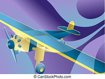toy plane on multicolor background