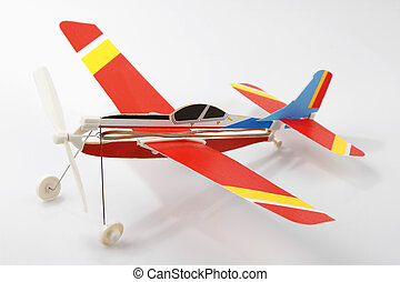 Toy plane - Toy model plane on plain background