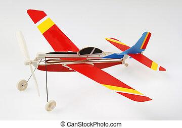Toy plane - Toy model plane on plain background