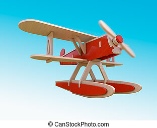 Toy plane - Toy wooden airplane flying in the sky