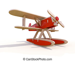 Toy plane - Toy wooden plane on a white background