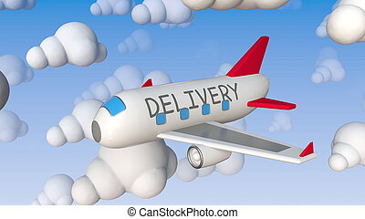 Toy plane with DELIVERY text flies between cloud mockups, ...