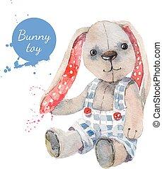 toy., powitanie, ilustracja, akwarela, wektor, królik, karta