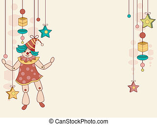 Toy Puppet Background - Background Illustration of String...