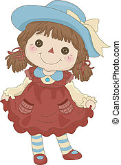 Toy Rag Doll - Illustration of a Toy Rag Doll standing on...