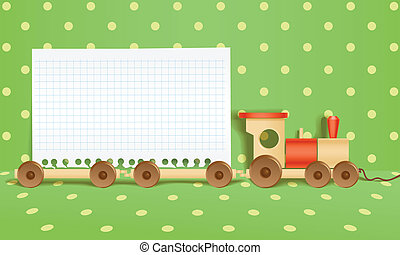 Toy railway background. Template for a text