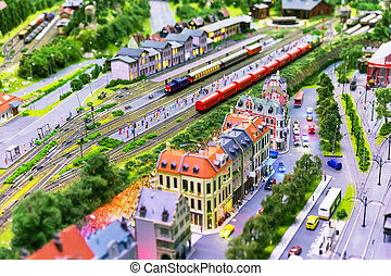 Toy railway layout - Macro view of toy hobby railroad layout...