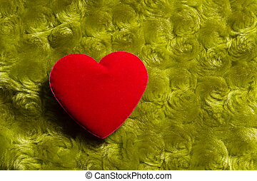 Heart on a green background