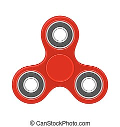 Toy red spinner. Vector flat color illustration. Isolated on white