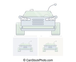Toy remote control cars. Flat linear illustration.