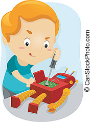 Toy Repair - Illustration of a Kid Fixing His Robot