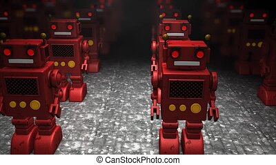 Toy robot army invasion.