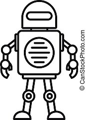Toy robot icon, outline style