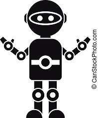 Toy robot icon, simple style