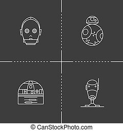 Toy robot icons - Droid in thin outline style. Vector...