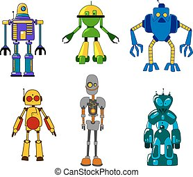 Toy robots and monsters set - Colorful classic toy robots...
