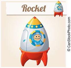 Toy rocket. Cartoon vector illustration. Series of childrens toys