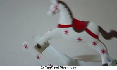 toy rocking horse Christmas gift - rocking horse on white...