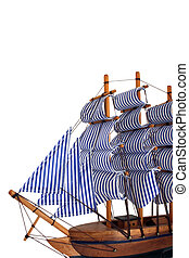 toy sailing boat on white background